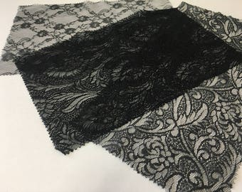assortment of various smaller sheer lingerie tulle lace / mesh swatches — black (floral)  — different sizes and patterns