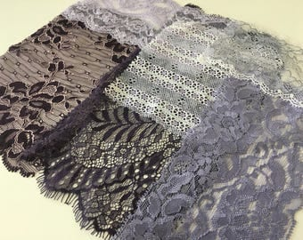 assortment of various smaller sheer lingerie tulle lace / mesh swatches — lavender / purple — different sizes and patterns