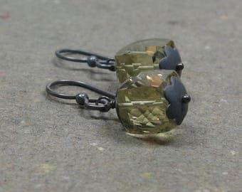 Lemon Yellow Quartz Earrings Geometric Jewelry Minimalist Oxidized Sterling Silver Gemstone Cube Earrings