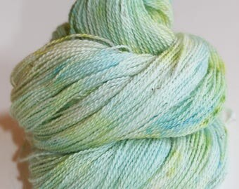 Frog Water, Hand Dyed, Hand Painted, Alpaca, Yarn, Lace, 300 Yards, Green, Blue
