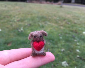 Miniature Lop Eared Bunny With Heart Needle Felted Tiny Miniature