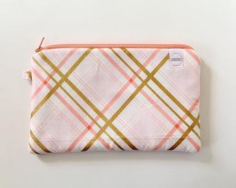 zipper pouch, cash envelope, Eyeglass case, Pen pencil, cash wallet, Cosmetic makeup case, Peach bag, sunglasses case, Pink gold plaid