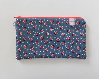 zipper pouch, cash envelope, Eyeglass case, Pen pencil, cash wallet, Cosmetic makeup case, Blue bag, sunglasses case, Vintage purse, floral
