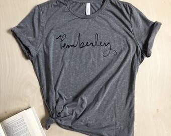 Pemberley T-shirt - Jane Austen - Pride and Prejudice - screen printed - womens size Small-2XL