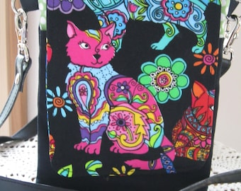 Mini Travel Cell Phone Hipster Bag, Passport Bag, 3 Pockets, Removable Shoulder Strap, Made in USA, Psychedelic Cats
