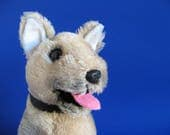 Vintage German Shepard Puppy Dog Stuffed Animal by R. DAKIN 1975 Original Chain Collar 1970s Toys