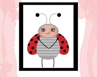 Cute lady bug nursery download art printable 8x10