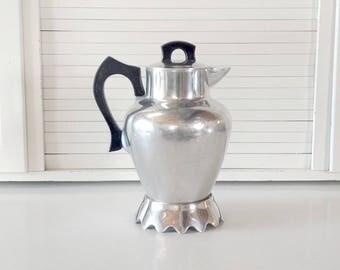 Coffee Pot / Club Aluminim Ware / Vase / Water Pitcher / Retro Decor / 1960s / 1950s / Set Design / Rustic Home Decor