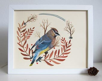 Art - Original Painting - Bird Art - Waxwing Painting - Bird Painting - Original Art - Painting on Paper - 8x10 Painting - Waxwing