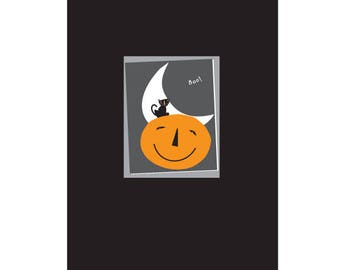 halloween cards boo small black cat on jack o lantern