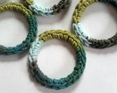Cat Ferret Toys, Recycled Rings Toy, Green Colors, Gift for Cats and Ferrets