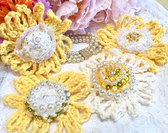 4 Cotton Crochet Flowers, Crochet Daisies, Crochet Shabby Flowers, Yellow, White, Beaded Embellished Flowers, Pearls, Scrapbook, weddings