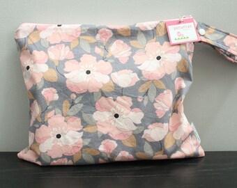 Wet Bag wetbag Diaper Bag ICKY Bag wet proof grey floral gym bag swim cloth diaper zipper gift newborn baby child kids summer beach