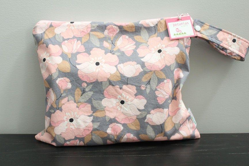 Wet Bag Wetbag Diaper ICKY Proof Grey Floral Gym Swim Cloth Zipper Gift Newborn Baby Child Kids Summer Beach