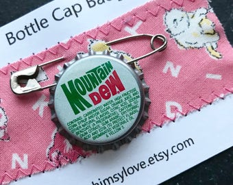 Vintage Mountain Dew Bottle Cap Badge