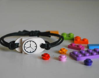 Play Day Lego Bracelet in White - Build Your Own LEGO Jewelry - Play Create Pretend - Watch  - Upcycled - Kid Jewelry - Tweens