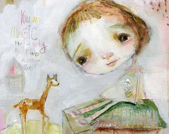 Magic Everywhere - mixed media art print by Mindy Lacefield