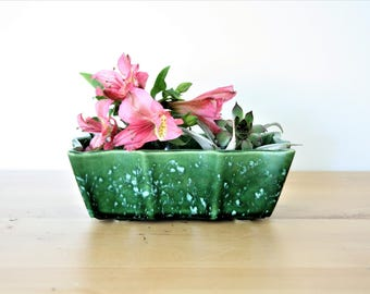 Vintage Retro UPCO #501 Speckled Green Planter, UPCO Flower Pot with Scalloped edge, Ceramic Planter, Catchall, Bowl or Succulent Planter