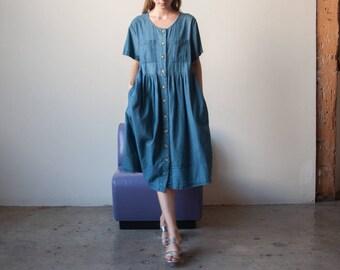 denim babydoll maxi dress / midi babydoll dress / simple denim dress / s / m / 2316d / B7