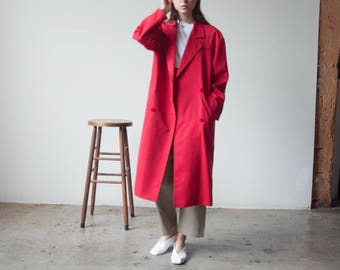 red worsted wool trench coat / trench style midi coat / vintage colorblock coat / s / m / 2336o / R4