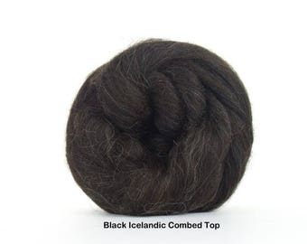 4 oz Black Icelandic Combed Top, Wool, Roving to Spin, Felt, Knit, Create Fiber Art