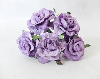 40mm rustic purple mulberry roses - paper flowers