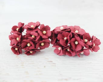 20 15mm burgundy mulberry paper mini hydrangea flowers - burgundy paper flowers
