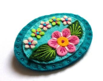 HALF PRICE Summer Sale Sweetheart felt brooch pin with freeform embroidery