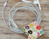 Fabric Cable iPhone Cord Holder Earphone Earbud Holder Cable Holder Cable Cord Organizer Cable Organiser - Multi Color Peace Signs Fabric