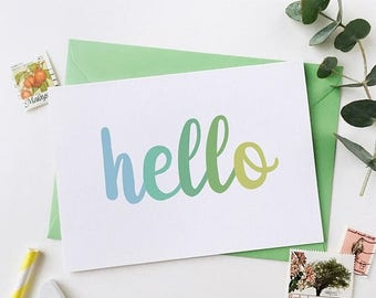 SALE Hello Green Card - New Baby Card - Typography Card - Notecard