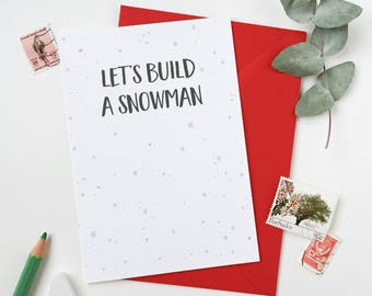 Let's Build A Snowman Card – Winter Dates Card – Valentine's Day Card – Anniversary Card – Cosy Christmas Card – Simple Date