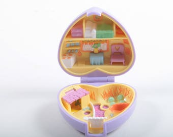 Polly Pocket Pretty Bunnies, Compact, Purple, Heart Case, Vintage, Bluebird, Plastic, Toy, Tiny Rooms, Furniture ~ The Pink Room ~ 170403