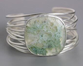 Moss Agate Tangled Grasses Cuff