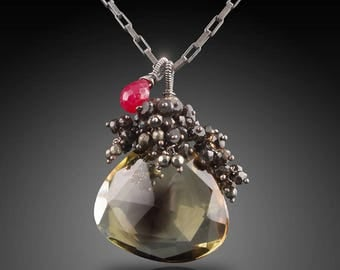 Bi-Color Quartz Pendant with Black Spinel, Silver Pyrite, and Tiny Ruby Accent