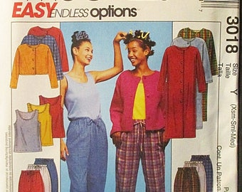 60% OFF SALE Misses Sewing Pattern McCalls 3018 Misses Duster or Jacket, Tank Top & Pull-on Pants Pattern Size XS, S, M Uncut