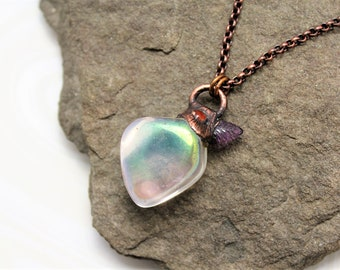Angel Aura, Sun Stone And Amethyst Leaf Electroformed Pendant