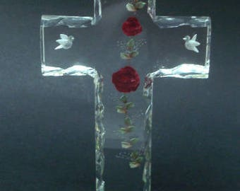 Large Reverse Lucite Carved Table Cross Doves Roses