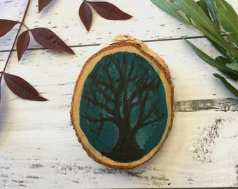 Dark Tree Empty Branches In The Night Shadow Brooch Pin Wood Slice Hand Painted Acrylic Paint Mystical Aura Blue Black Winter Time
