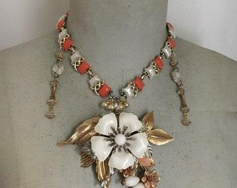 Floral Statement Necklace, Blossom Necklace, Vintage Assemblage