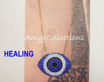 MANDALA (HEALING) EYE, Hand-painted, Delicate Solid Brass Chain Necklace (Dark Blue)