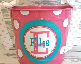 ON SALE personalized bucket in turquoise and pinks- 10 quart size