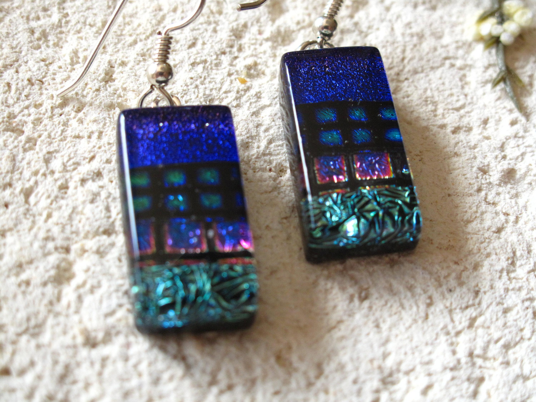 Green Cobalt Blue Earrings, Dichroic Earrings, Dichroic Jewelry, Dangle Drop Earrings, Fused Glass Sterling Earrings, ccvalenzo, 081917e102