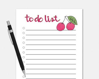 To Do List Notepad - Cherry To Do List - To Do List Notepad - Cherry Notepad - To Do Notepad