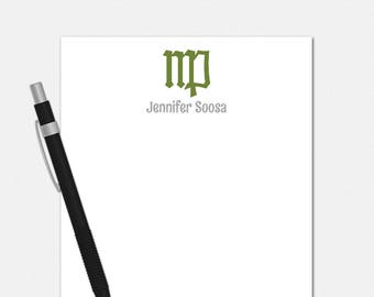 Personalized Virgo Notepad - Zodiac Symbol Notepad - Personalized Notepad for Her - 50 Color Choices - Virgo Stationery