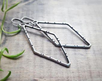 Diamond Shaped Earrings - Sterling Silver Earrings - Hand Stamped Jewelry - Rustic Earrings - Long Dangle Earrings - Eco Friendly - Ti'An