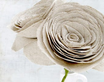 4th Anniversary Rustic Linen Fabric Flowers set of 2  Roses Gift for Her Wife Girlfriend Fiancee. Check processing and delivery times