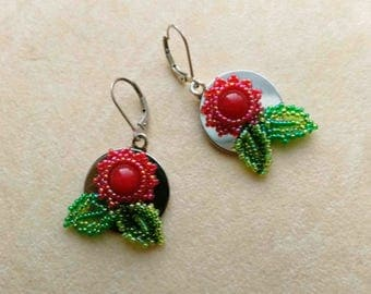 Sterling Silver Red Floral Earrings, Beadwoven Dangle, Red Jasper, Green Leaves, Christmas Earrings- Round Floral  by enchantedbeads on Etsy