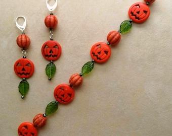 Pumpkin Bracelet and Earrings, Dyed howlite Pumpkin Face, Sphere Pumpkin, Green Glass Leaves - Fall Autumn Harvest by enchantedbeads on Etsy