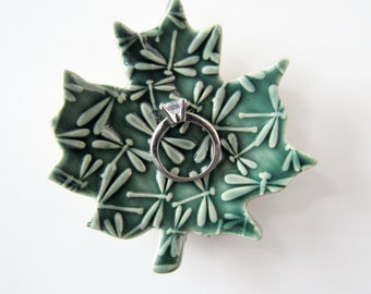Emerald Green maple leaf spoon rest with dragonflies - coffee spoon rest
