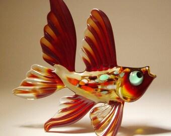 Handmade Blown Glass Art Figurine Dark Red Exotic Fish